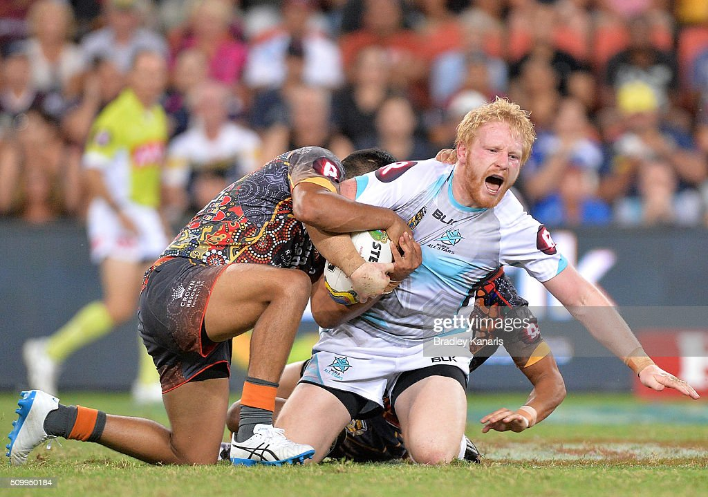 <a gi-track='captionPersonalityLinkClicked' href=/galleries/search?phrase=James+Graham+-+Rugby+Player&family=editorial&specificpeople=15021163 ng-click='$event.stopPropagation()'>James Graham</a> of the World All Stars is tackled during the NRL match between the Indigenous All-Stars and the World All-Stars at Suncorp Stadium on February 13, 2016 in Brisbane, Australia.