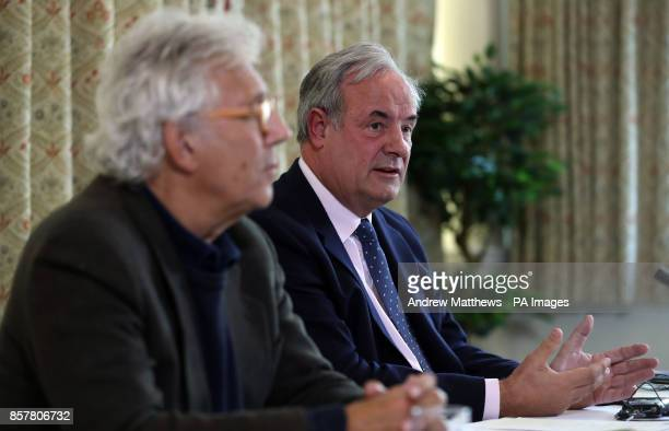James Gray MP for North Wiltshire and Lincoln Seligman godson of Sir Edward Heath at a press conference at Wrag Barn Golf amp Country Club in...