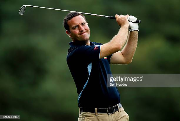 James Green of Portsmouth Golf Club hits his tee shot on the 14th hole during the Regional Final of the Virgin Atlantic PGA National ProAm...