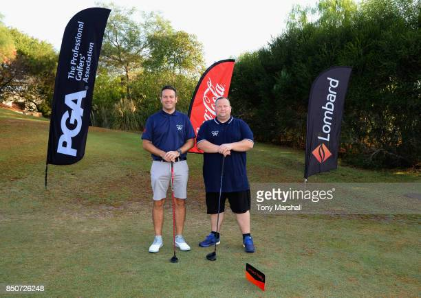 James Green of Portsmouth Golf Course and Tim Higgs of Portsmouth Golf Course pose on the 1st tee during The Lombard Trophy Final Day One on...