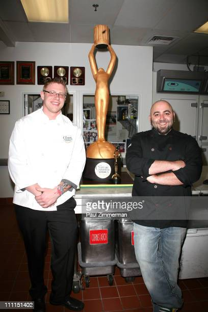 James Grill and Duff Goldman attend the unveiling of the official cake for the 2011 Culinary Institute of America Augie Awards at The New York...