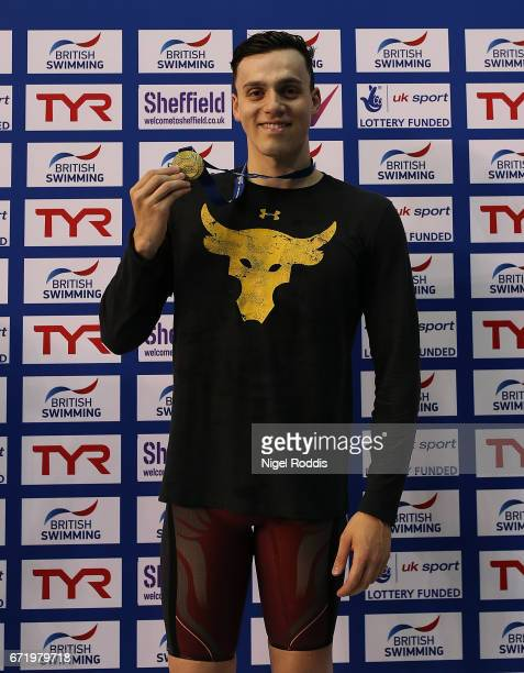 James Guy of Bath University reacts after winning the Mens Open 200m Freestyle Final on day six of the 2017 British Swimming Championships at Ponds...