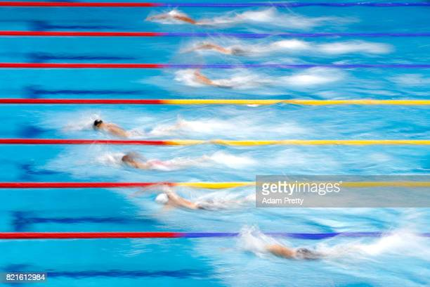 James Guy of Great Britain heads the field during the Men's 200m Freestyle Semifinals on day eleven of the Budapest 2017 FINA World Championships on...