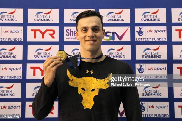 James Guy poses with his gold medal after winning The Men's 200 Metre Freestyle during day six of the 2017 British Swimming Championships at Ponds...