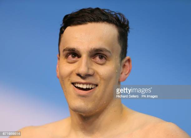 James Guy reacts after winning The Men's 200 Metre Freestyle during day six of the 2017 British Swimming Championships at Ponds Forge Sheffield