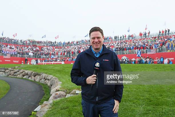 James Haddock of Sky Sports looks on from the first tee during morning foursome matches of the 2016 Ryder Cup at Hazeltine National Golf Club on...