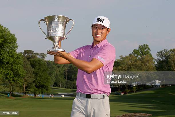 James Hahn celebrates after defeating Roberto Castro in a playoff during the final round of the 2016 Wells Fargo Championship at Quail Hollow Club on...
