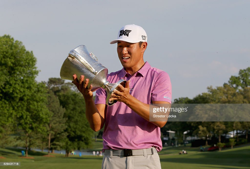 James Hahn celebrates after defeating Roberto Castro in a playoff during the final round of the 2016 Wells Fargo Championship at Quail Hollow Club on May 8, 2016 in Charlotte, North Carolina.