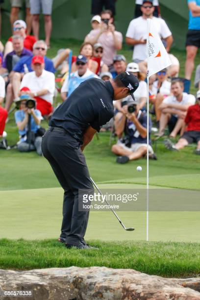 James Hahn chips onto the 17th green during the final round of the ATT Byron Nelson on May 21 2017 at the TPC Four Seasons Resort in Irving TX