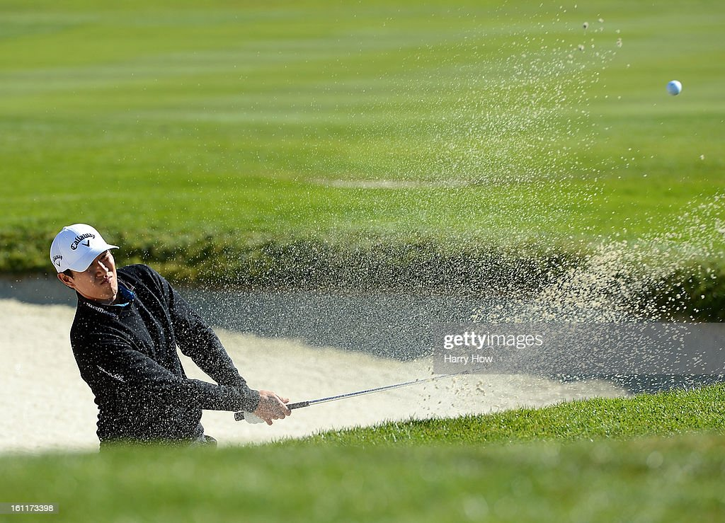 James Hahn hits out of the bunker on the first hole during the third round of the AT&T Pebble Beach National Pro-Am at Spyglass Hill Golf Course on February 9, 2013 in Pebble Beach, California.