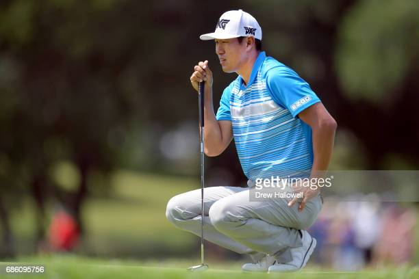 James Hahn lines up a putt on the 14th green during Round Three of the ATT Byron Nelson at the TPC Four Seasons Resort Las Colinas on May 20 2017 in...