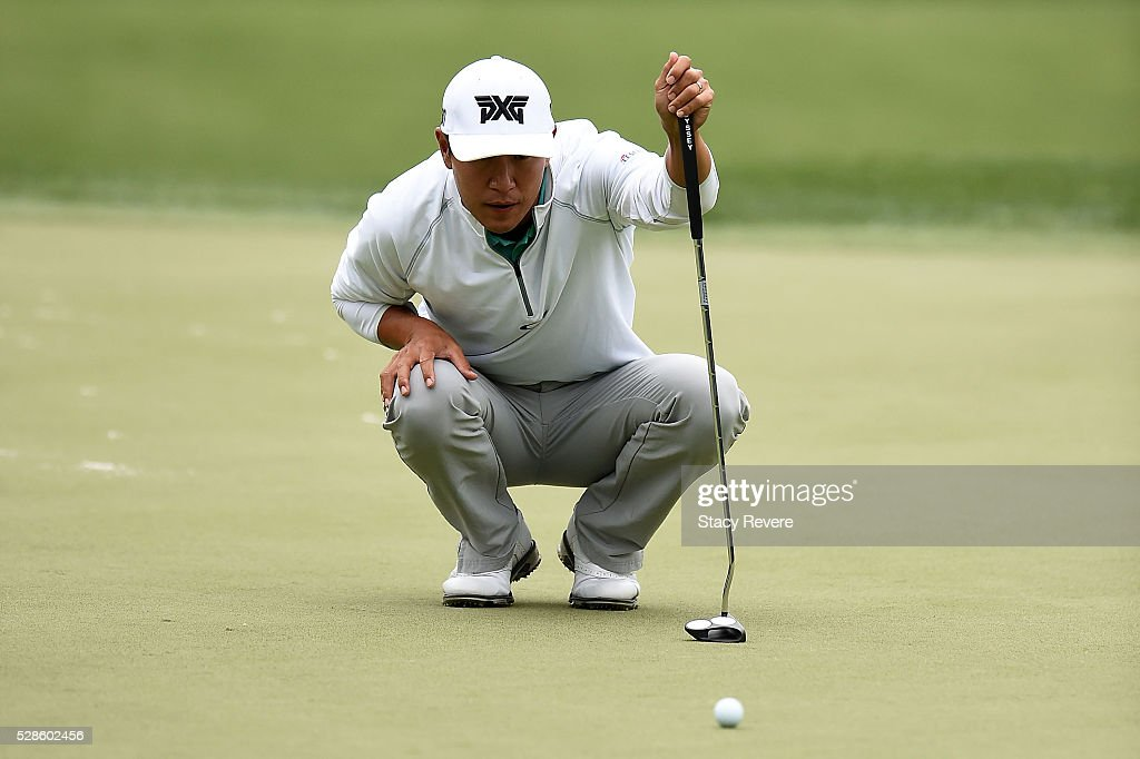 <a gi-track='captionPersonalityLinkClicked' href=/galleries/search?phrase=James+Hahn&family=editorial&specificpeople=209338 ng-click='$event.stopPropagation()'>James Hahn</a> lines up a putt on the 15th green during the second round of the Wells Fargo Championship at Quail Hollow Club on May 6, 2016 in Charlotte, North Carolina.