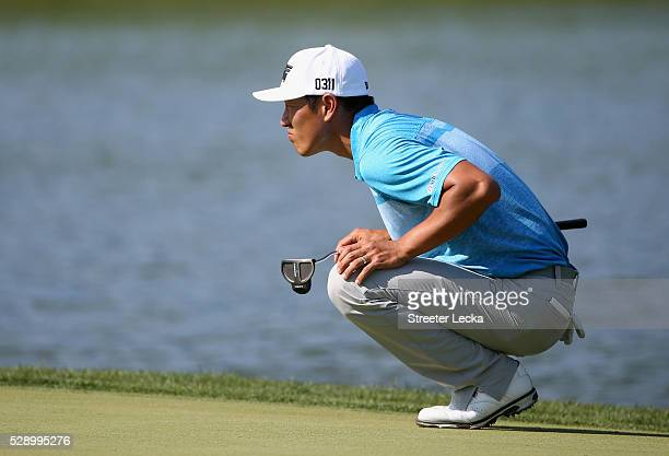 James Hahn lines up a putt on the 17th hole during the third round of the 2016 Wells Fargo Championship at Quail Hollow Club on May 7 2016 in...
