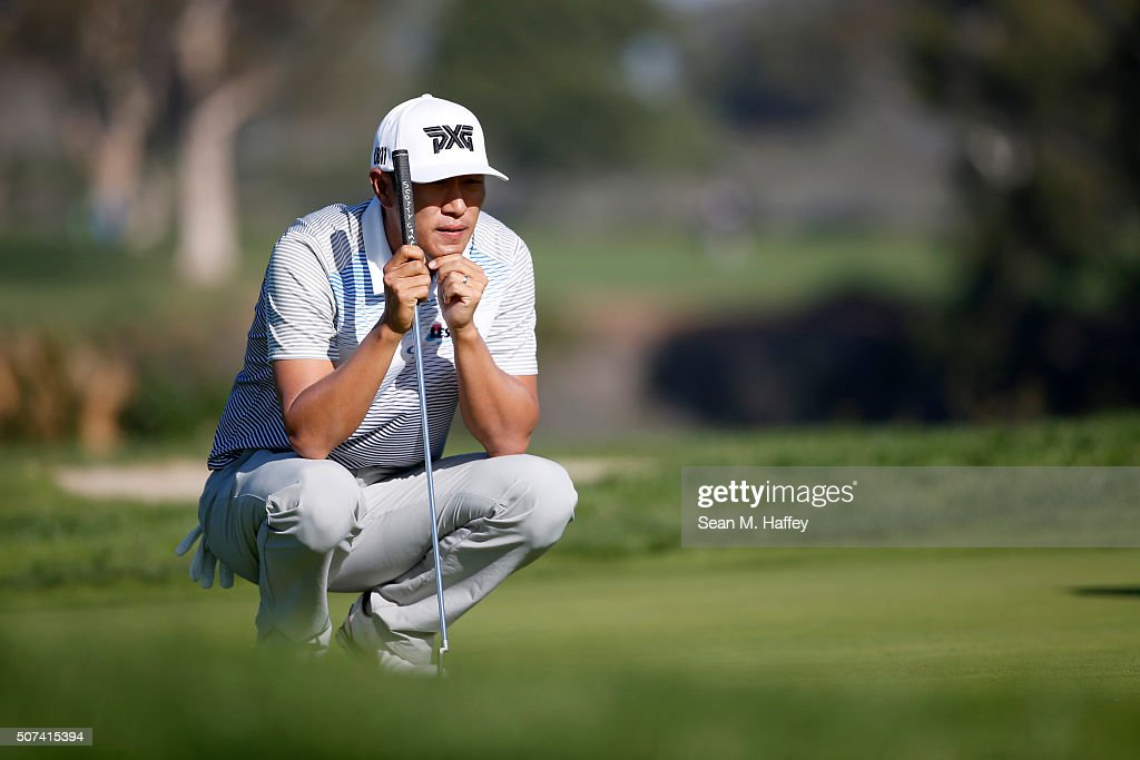 James Hahn lines up a putt on the 2nd green during Round 2 of the Farmers Insurance Open at Torrey Pines North on January 29, 2016 in San Diego, California.