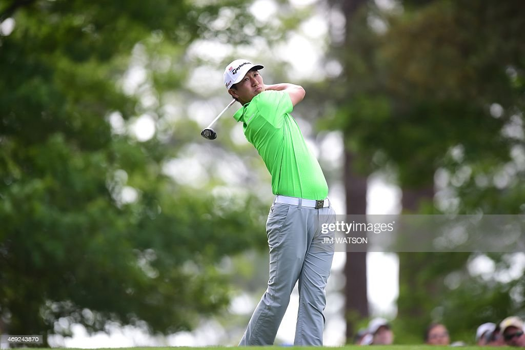 James Hahn of South Korea tees off on the 4th hole during Round 2 of the 79th Masters Golf Tournament at Augusta National Golf Club on April 10, 2015, in Augusta, Georgia. AFP PHOTO/JIM WATSON