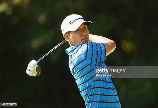 James Hahn of the United States hits his tee shot on the fifth hole during the third round of The Barclays at Plainfield Country Club on August 29...