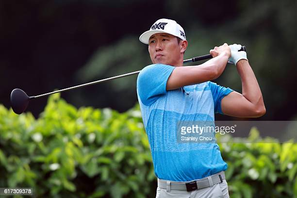 James Hahn of the United States plays a tee shot on the 2nd hole during day four of the 2016 CIMB Classic at Kuala Lumpur Golf Country Club on...