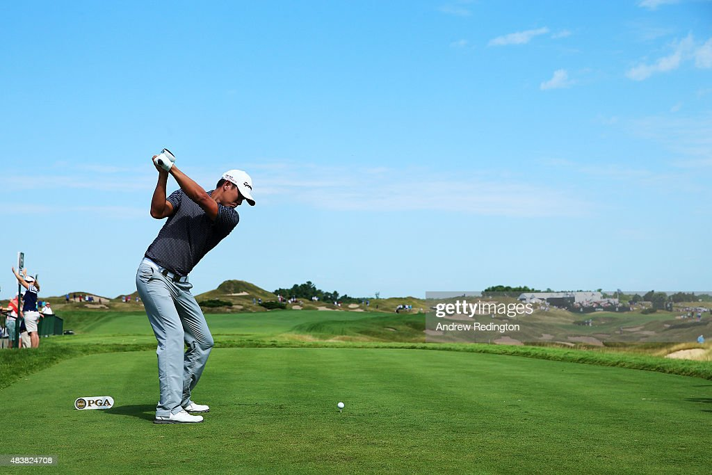 James Hahn of the United States plays his shot from the 11th tee during the first round of the 2015 PGA Championship at Whistling Straits on August 13, 2015 in Sheboygan, Wisconsin.
