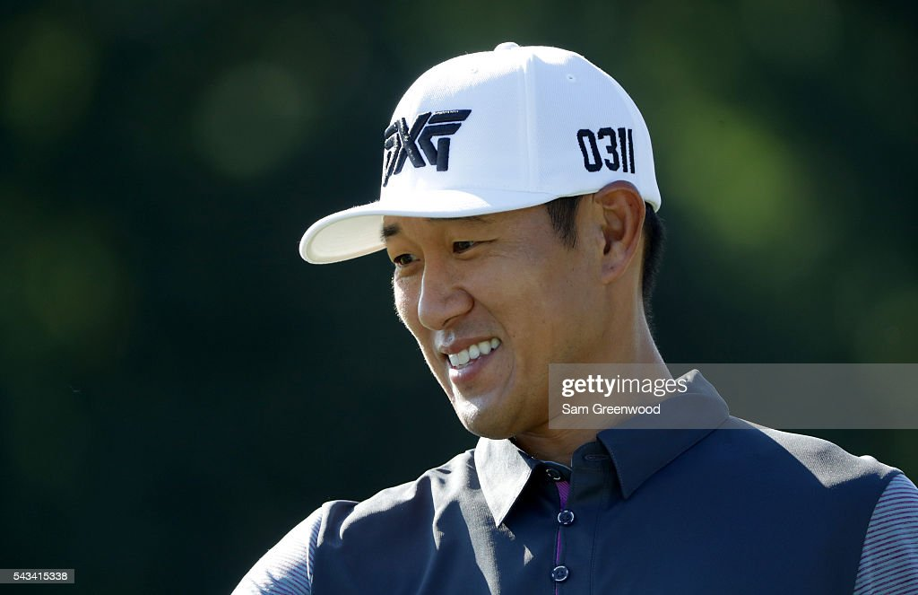 <a gi-track='captionPersonalityLinkClicked' href=/galleries/search?phrase=James+Hahn+-+Golfer&family=editorial&specificpeople=15809875 ng-click='$event.stopPropagation()'>James Hahn</a> of the United States smiles during a practice round prior to the World Golf Championships-Bridgestone Invitational at Firestone Country Club South Course on June 28, 2016 in Akron, Ohio.