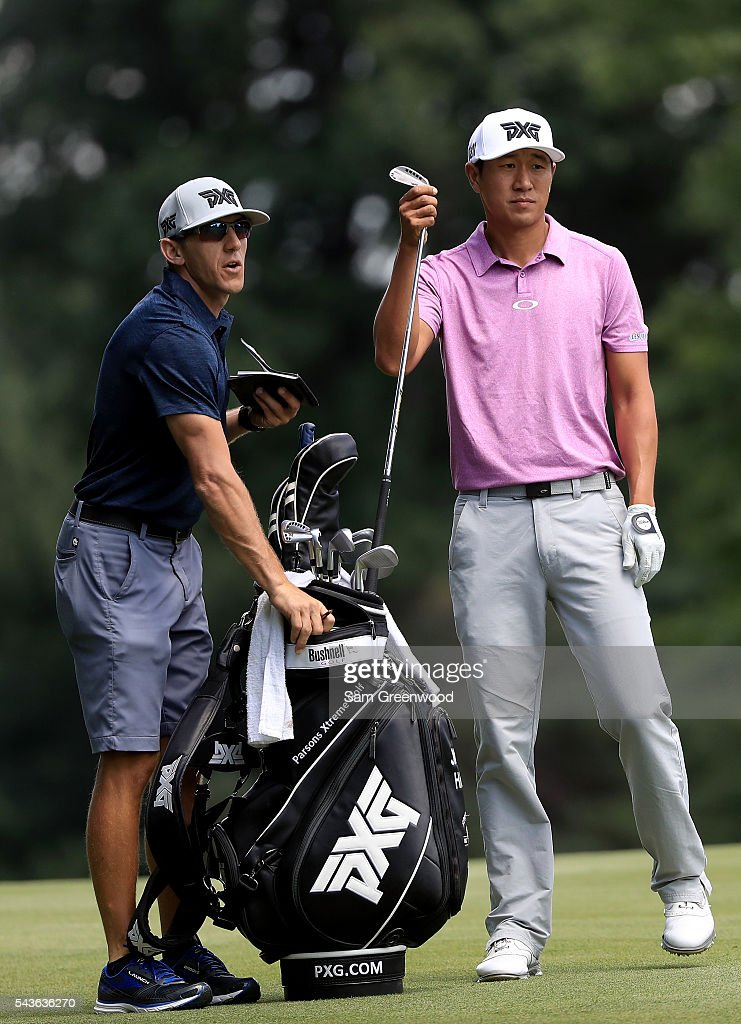<a gi-track='captionPersonalityLinkClicked' href=/galleries/search?phrase=James+Hahn+-+Golfer&family=editorial&specificpeople=15809875 ng-click='$event.stopPropagation()'>James Hahn</a> plays a shot during a practice round prior to the World Golf Championships-Bridgestone Invitational at Firestone Country Club South course on June 29, 2016 in Akron, Ohio.
