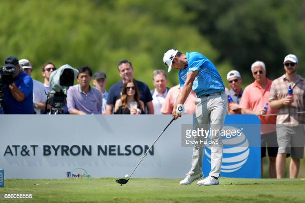 James Hahn plays his shot from the 16th tee during Round Three of the ATT Byron Nelson at the TPC Four Seasons Resort Las Colinas on May 20 2017 in...