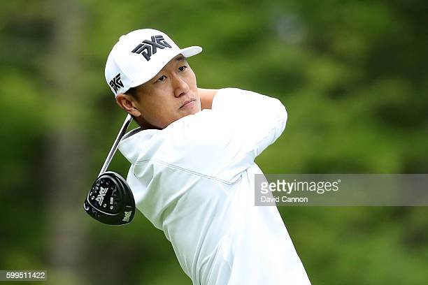 James Hahn plays his shot from the fifth tee during the final round of the Deutsche Bank Championship at TPC Boston on September 5 2016 in Norton...