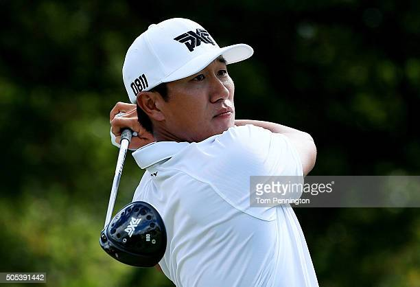 James Hahn plays his shot from the first tee during the third round of the Sony Open In Hawaii at Waialae Country Club on January 16 2016 in Honolulu...