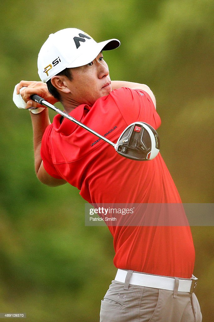 James Hahn plays his shot from the fourth tee during the Second Round of the BMW Championship at Conway Farms Golf Club on September 18, 2015 in Lake Forest, Illinois.
