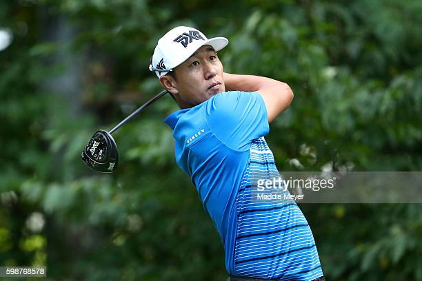 James Hahn plays his shot from the ninth tee during the first round of the Deutsche Bank Championship at TPC Boston on September 2 2016 in Norton...