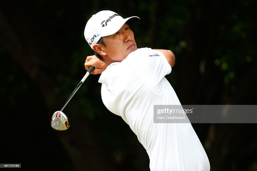 James Hahn plays his tee shot on the first hole during the third round of the HP Byron Nelson Championship at the TPC Four Seasons on May 17, 2014 in Irving, Texas.