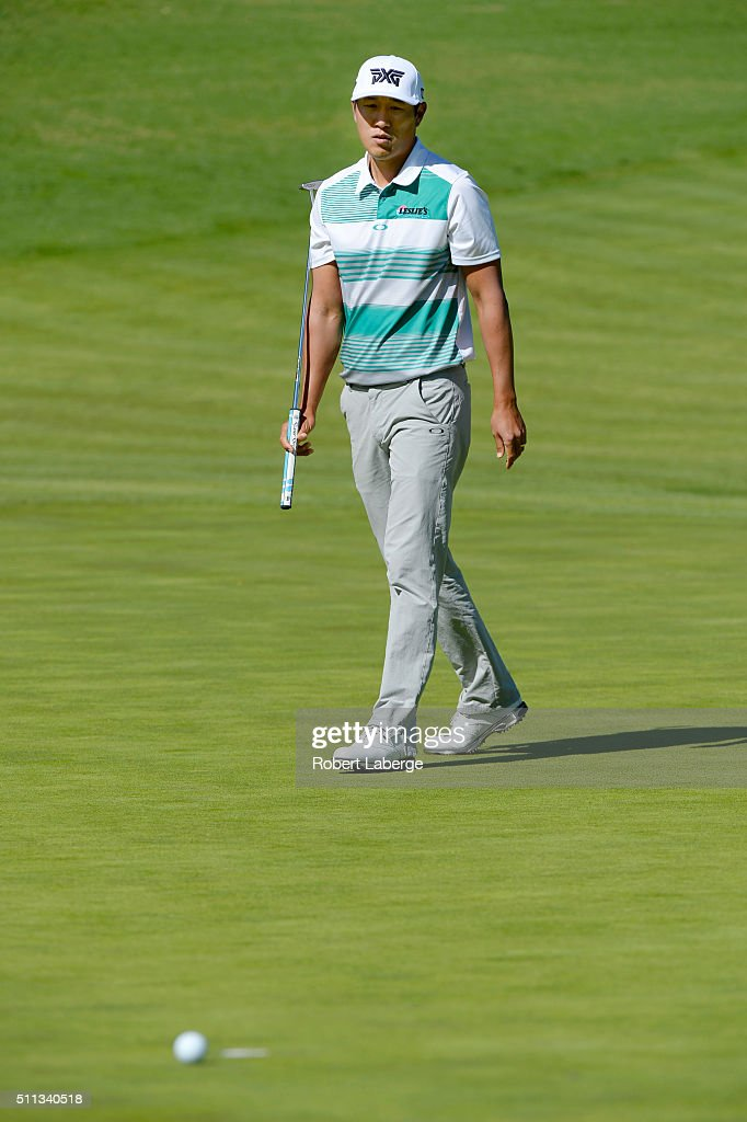 James Hahn putts on the fourth hole during round two of the Northern Trust Open at Riviera Country Club on February 19, 2016 in Pacific Palisades, California.