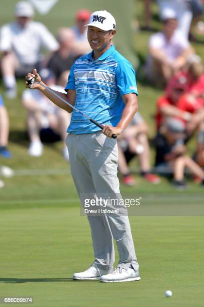 James Hahn reacts after missing an eagle putt on the 16th green during Round Three of the ATT Byron Nelson at the TPC Four Seasons Resort Las Colinas...