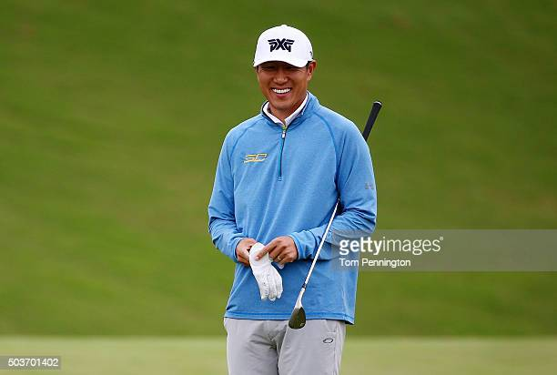 James Hahn reacts during the Hyundai Tournament of Champions ProAm at the Plantation Course at Kapalua Golf Club on January 6 2016 in Lahaina Hawaii