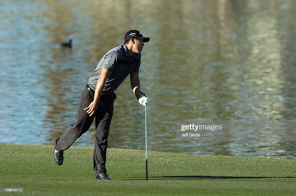 James Hahn reacts to his second shot on the 18th fairway during the first round of the Humana Challenge In Partnership With The Clinton Foundationat at the Palmer Private Course at PGA West on January 17, 2013 in La Quinta, California.
