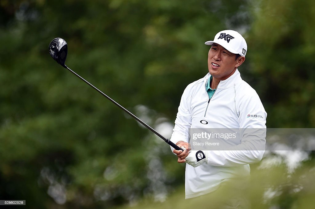 James Hahn reacts to his tee shot on the 16th hole during the second round of the Wells Fargo Championship at Quail Hollow Club on May 6, 2016 in Charlotte, North Carolina.