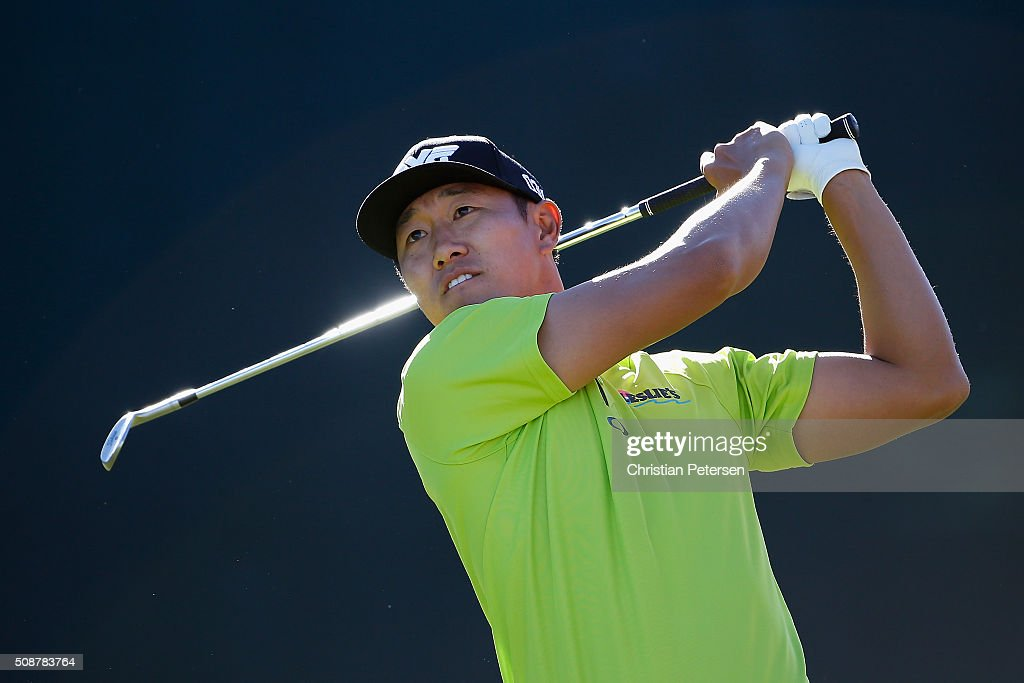 <a gi-track='captionPersonalityLinkClicked' href=/galleries/search?phrase=James+Hahn&family=editorial&specificpeople=209338 ng-click='$event.stopPropagation()'>James Hahn</a> tees off on the 16th hole during the third round of the Waste Management Phoenix Open at TPC Scottsdale on February 6, 2016 in Scottsdale, Arizona.