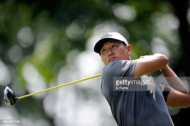 James Hahn tees off on the fifth hole during the first round of the Quicken Loans National at the Robert Trent Jones Golf Club on July 30 2015 in...