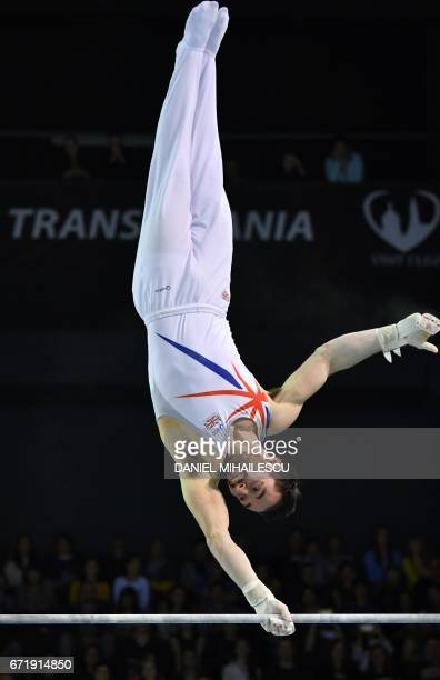 James Hall of Great Britain performs on the men horizontal bar apparatus final for the European Artistic Gymnastics Championship in Cluj Napoca...