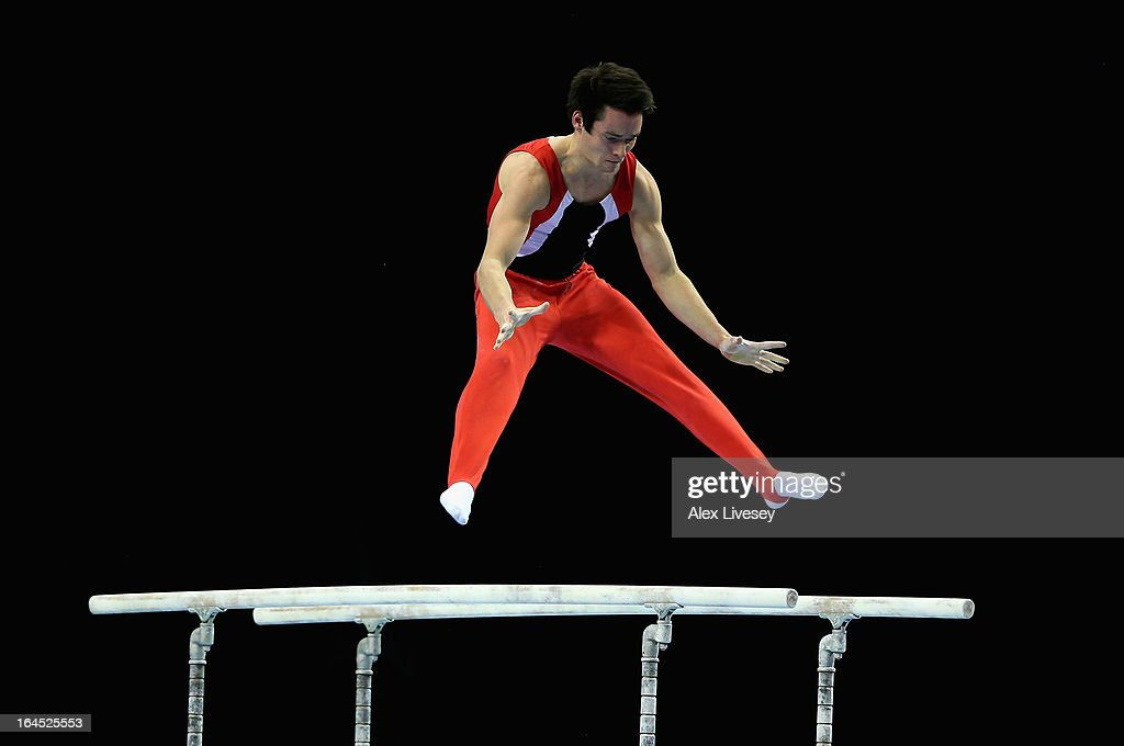 James Hall of Pegasus Gym Club competes in the Parallel Bars in the Men's Masters event at the Men's and Women's British Gymnastics Championships at the Echo Arena on March 24, 2013 in Liverpool, England.