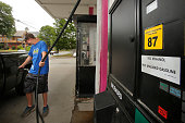 James Hallstrom pumps gas at Holly's Gas in Westbrook on Tuesday June 28