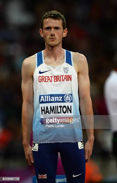 James Hamilton of Great Britain looks on during the final of the mens 800m T20 on day nine of the IPC World ParaAthletics Championships 2017 at...