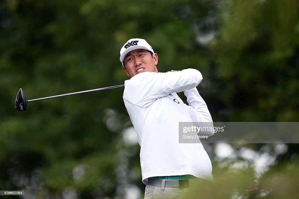 James Han hits his tee shot on the 16th hole during the second round of the Wells Fargo Championship at Quail Hollow Club on May 6, 2016 in Charlotte, North Carolina.