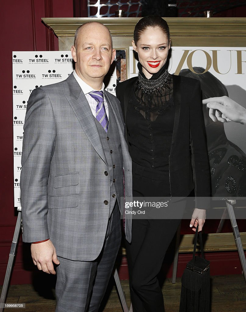 James Hancock and Coco Rocha attend DuJour Magazine Gala with Coco Rocha and Nigel Barker presented by TW Steel at Scott Sartiano and Richie Akiva's The Darby on January 23, 2013 in New York City.