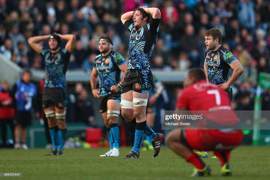 James Hanks (C) of Exeter Chiefs shows his disappointment at the final whistle after his sides 14-9 defeat during the Heineken Cup Pool Two match between Exeter Chiefs and Toulon at Sandy Park on December 7, 2013 in Exeter, England.