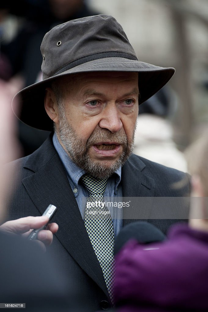 James Hansen protests against Keystone XL Pipeline at Lafayette Park on February 13, 2013 in Washington, DC.