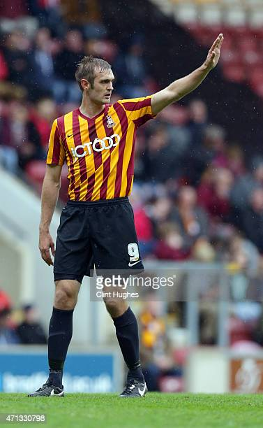 James Hanson of Bradford City during the Sky Bet League One match between Bradford City and Barnsley at Coral Windows Stadium on April 25 2015 in...