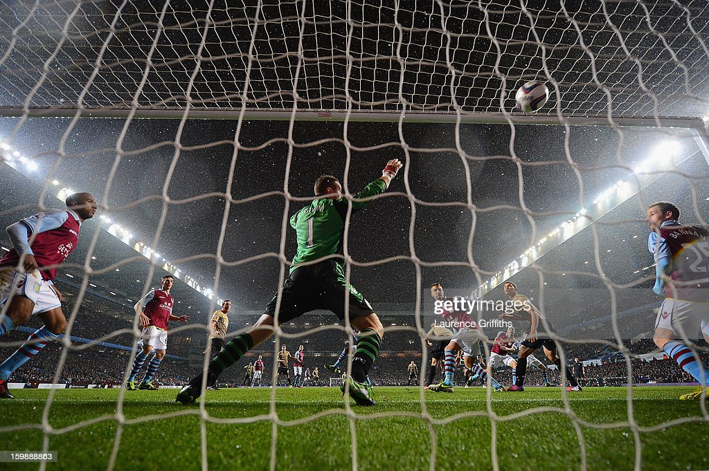 James Hanson of Bradford City scores his team's first goal during the Capital One Cup Semi-Final Second Leg between Aston Villa and Bradford City at Villa Park on January 22, 2013 in Birmingham, England.