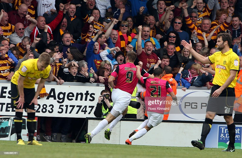 James Hanson of Bradford is celebrates after scoring during the npower League Two Play Off Semi Final: Second Leg match between Burton Albion and Bradford City at Pirelli Stadium on May 5, 2013 in Burton-upon-Trent, England.