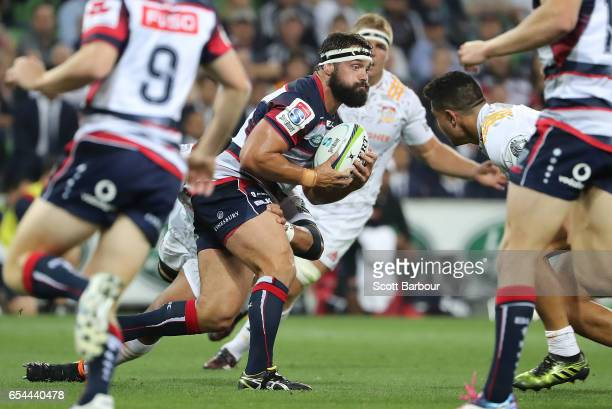 James Hanson of the Rebels runs with the ball during the round four Super Rugby match between the Rebels and the Chiefs at AAMI Park on March 17 2017...