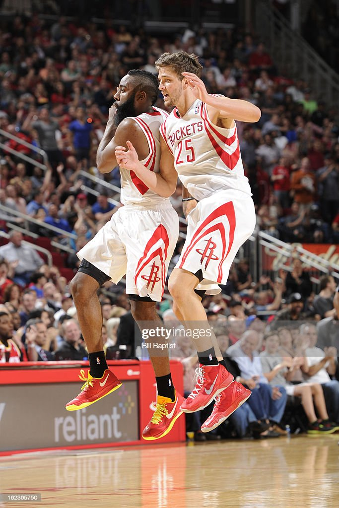 James Harden #13 and Chandler Parsons #25 of the Houston Rockets celebrate a play in the game against the Brooklyn Nets on January 26, 2013 at the Toyota Center in Houston, Texas.